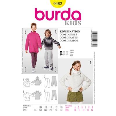 Kapuzenshirt | Jogginghose, Burda 9482 | 104 - 164