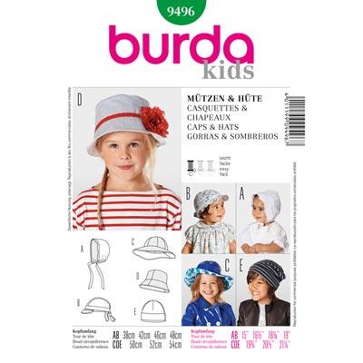 Kinderhüte | Mützen, Burda 9496 | Ø 38 - 54cm