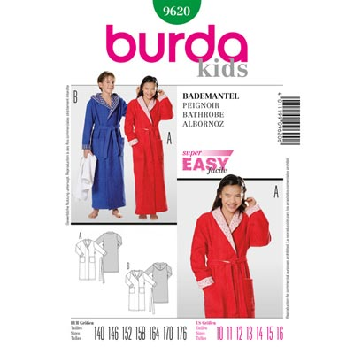 Bademantel, Burda 9620 | 140 - 176