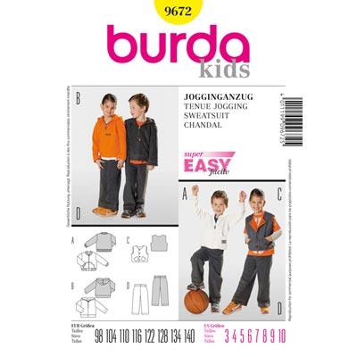 Jogginganzug, Burda 9672 | 98 - 140
