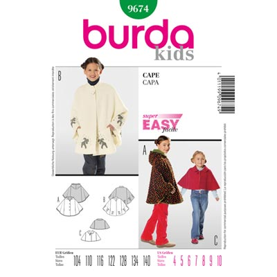 Cape für Kinder, Burda 9674 | 104 - 140