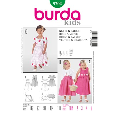 Kleid | Jacke, Burda 9702 | 86 - 110