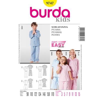 Kinderschlafanzug, Burda 9747 | 98 - 170