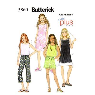 Mädchenkleid / Hose, Butterick 3860 | 140 - 158