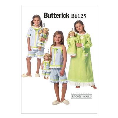 Kinder-Nachtwäsche, Butterick 6125 | 122 - 134