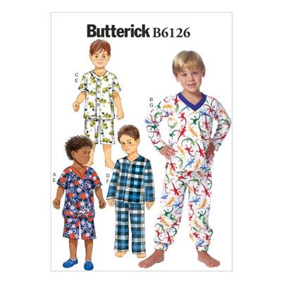 Kinder-Nachtwäsche, Butterick 6126 | 122 - 134