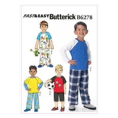 Kinder-Nachtwäsche, Butterick 6278 | 122 - 134