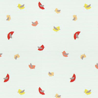 Katoenstof Streepvogel - mintgroen