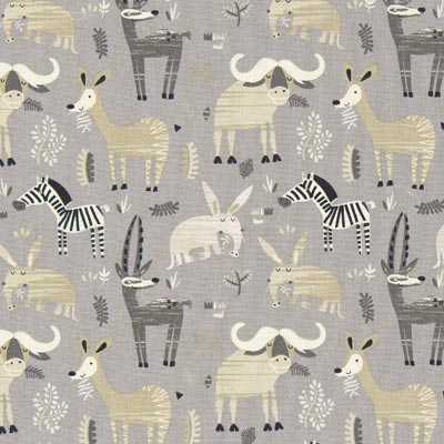Steppe Animals Cretonne 1 – grey