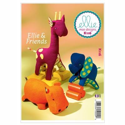 Stofftiere Elefant/ Giraffe / Nilpferd, KwikSew 0116