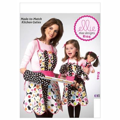 Schürze / Topfhandschuh für Kinder / Mädchen / Puppen, KwikSew 0124
