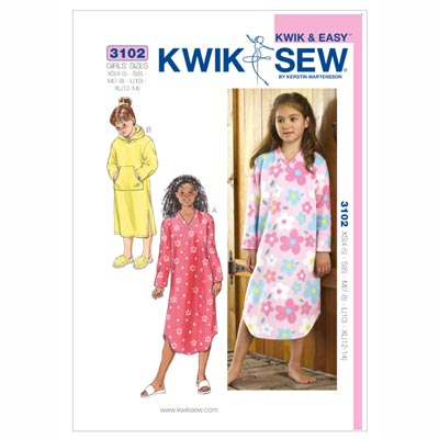 Nachthemd für Mädchen, KwikSew 3102 | 104 - 152
