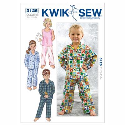 Schlafanzug für Kinder, KwikSew 3126 | 80 - 104