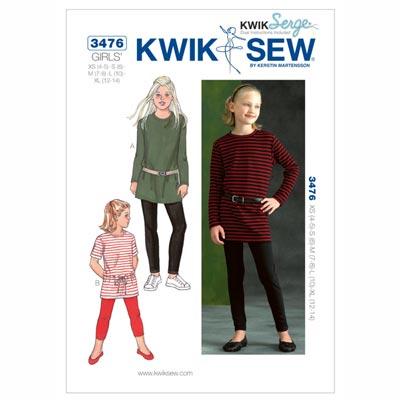 Tunika | Leggings für Mädchen, KwikSew 3476 | 104 - 152