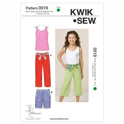 Hose | Shorts | Top für Mädchen, KwikSew 3519 | 110 - 152