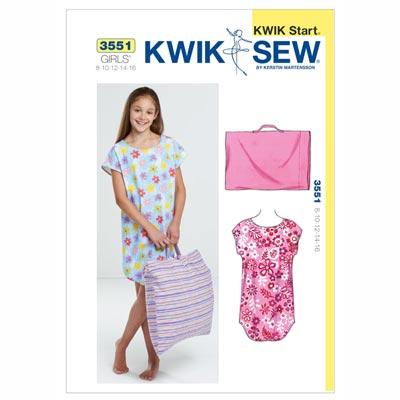 Nachthemd & Kissenbezug für Mädchen, KwikSew 3551 | 134 - 164