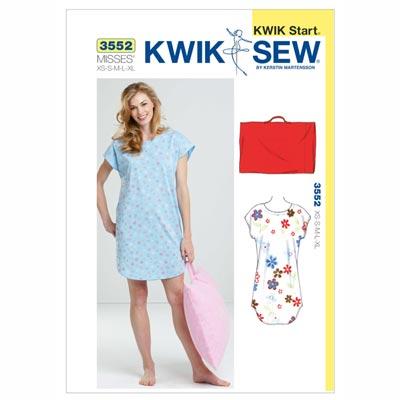 Nachthemd & Kissenbezug, KwikSew 3552 | XS - XL