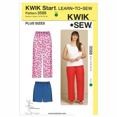 Plus Size Schlafhose | Schlafshorts, KwikSew 3588 | XL - 4XL