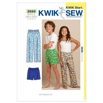 Schlafhose | Schlafshorts für Kinder, KwikSew 3589 | 116 - 140