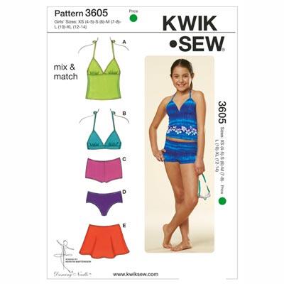 Bademode für Mädchen, KwikSew 3605 | 104 - 152