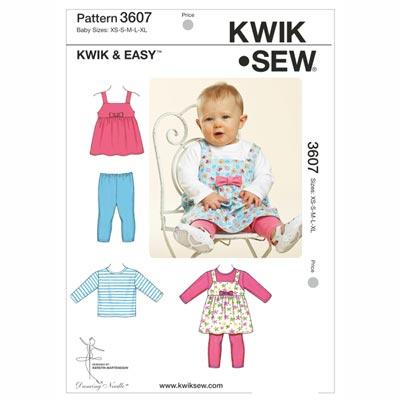 Trägerrock & Shirt & Leggings (Baby), KwikSew 3607 | 56 - 80