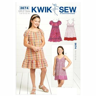 Kleid für Mädchen, KwikSew 3674 | 128 - 152