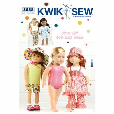 Puppenmode für 45cm Puppen, KwikSew 3688