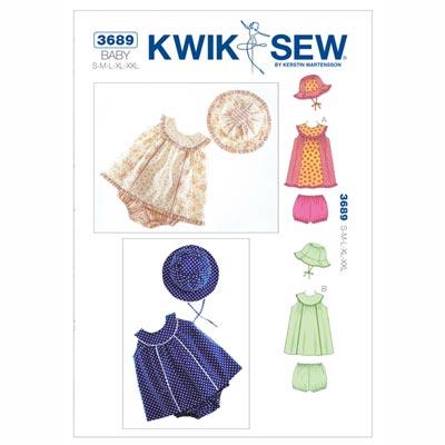 Babykleid | Höschen | Hut, KwikSew 3689 | 62 - 86