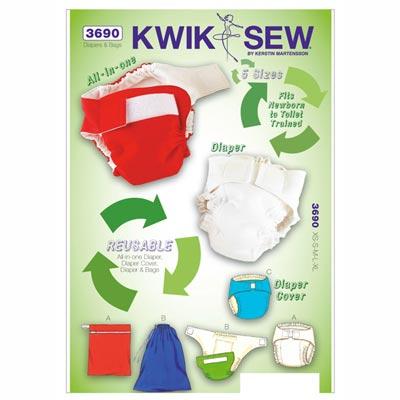 Stoffwindel | Überhöschen | Tasche, KwikSew 3690 | 56 - 80