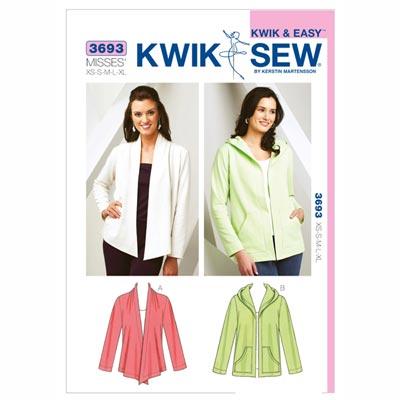 Cardigan-Jacke, KwikSew 3693 | XS - XL