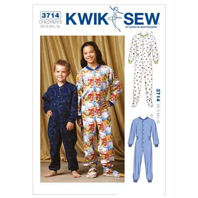 Schlaf-Overall für Kinder, KwikSew 3714 | 104 - 152