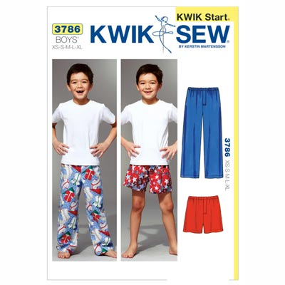 Schlafhose | Shorts, KwikSew 3786 | 104 - 152
