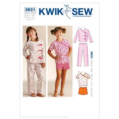 Pyjama für Mädchen, KwikSew 3831 | 104 - 152
