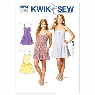 Sommerkleidchen, KwikSew 3874 | XS - XL