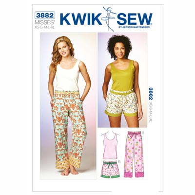 Pyjamahosen, Shorts und Top, KwikSew 3882 | XS - XL