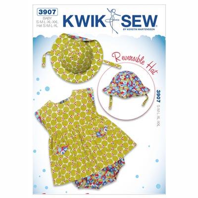 Babykleid | Wendehut | Pumphöschen, KwikSew 3907 | 62 - 86