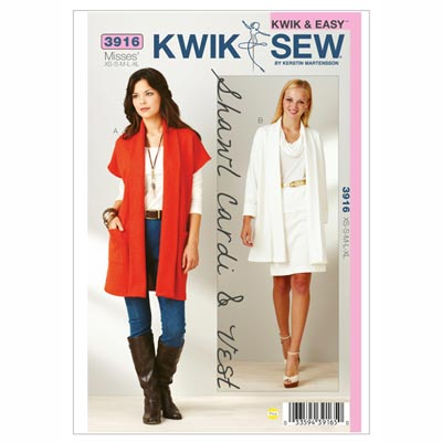 Cardigan-Jacke | Weste, KwikSew 3916 | XS - XL