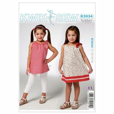 Kleid | Tunika für Mädchen, KwikSew 3934 | 80 - 104