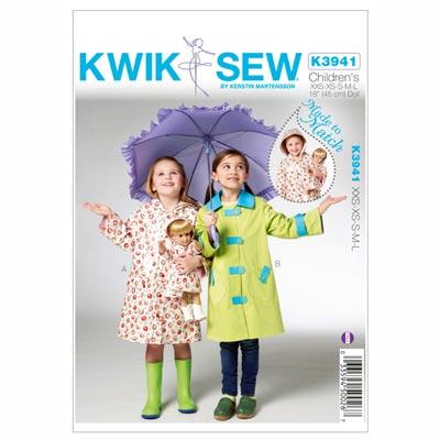 Regenmantel für Kinder und Puppen, KwikSew 3941 | 98 - 140