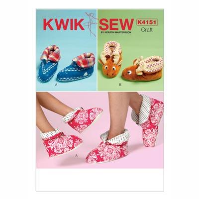 Hausschuhe für Erwachsene und Kinder, KwikSew 4151