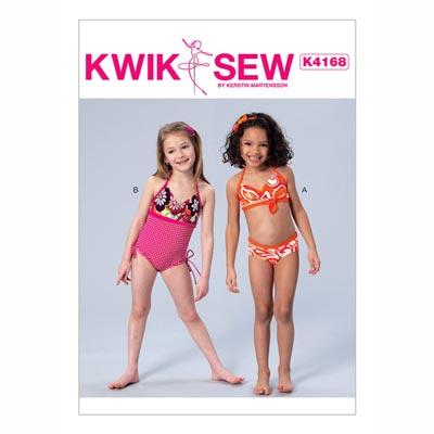 Badeanzug für Mädchen, KwikSew 4168 | 98 - 140
