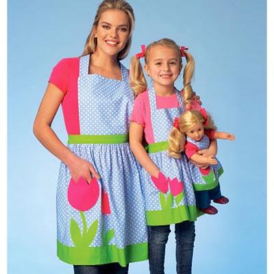 Damen / Mädchen / Puppen Schürzen, KwikSew 4105