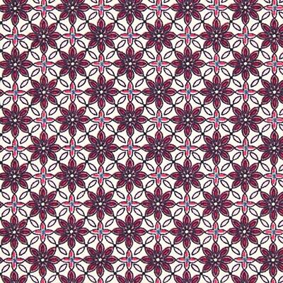 Katoenen stof Bloemenornament 2 – pink