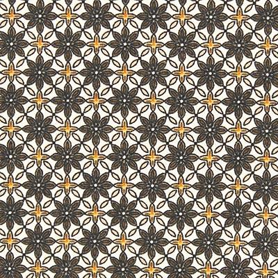 Katoenen stof Bloemenornament 1 – bruin