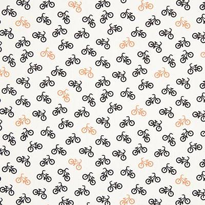Katoenen stof Bikes 1 – wit