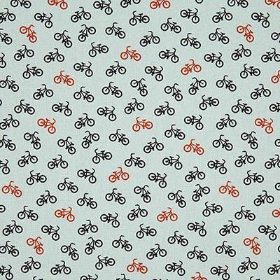 Katoenen stof bikes 3 – lichtgrijs
