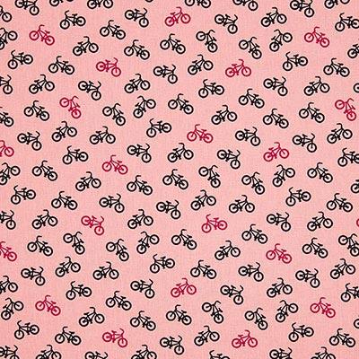 Bomullstyg Bikes 1 – rosa