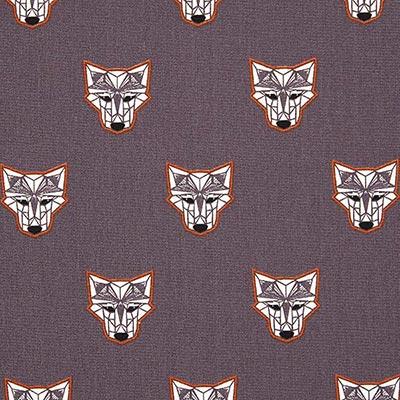 Katoenen stof wilde wolf 2 – grijs