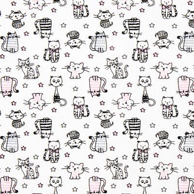Katoenen stof Kattenparade 1 – wit