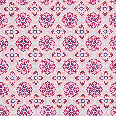 Katoenen stof Bloemenornament 4 – roze